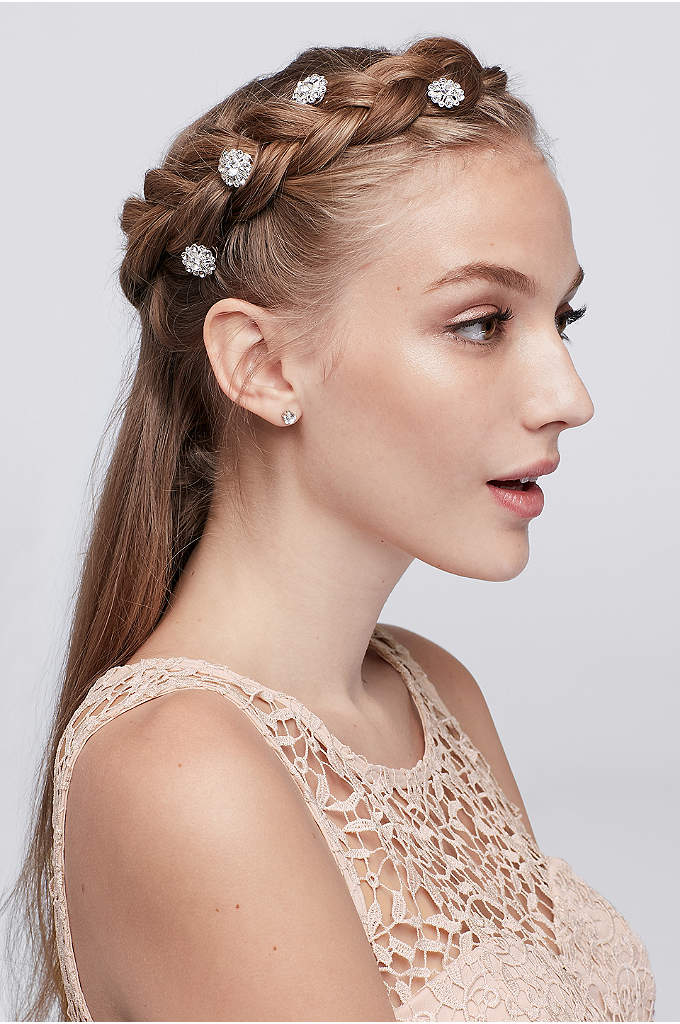 Flower Crystal Hair Spirals - For beautiful shine and embellishment in your up-do,