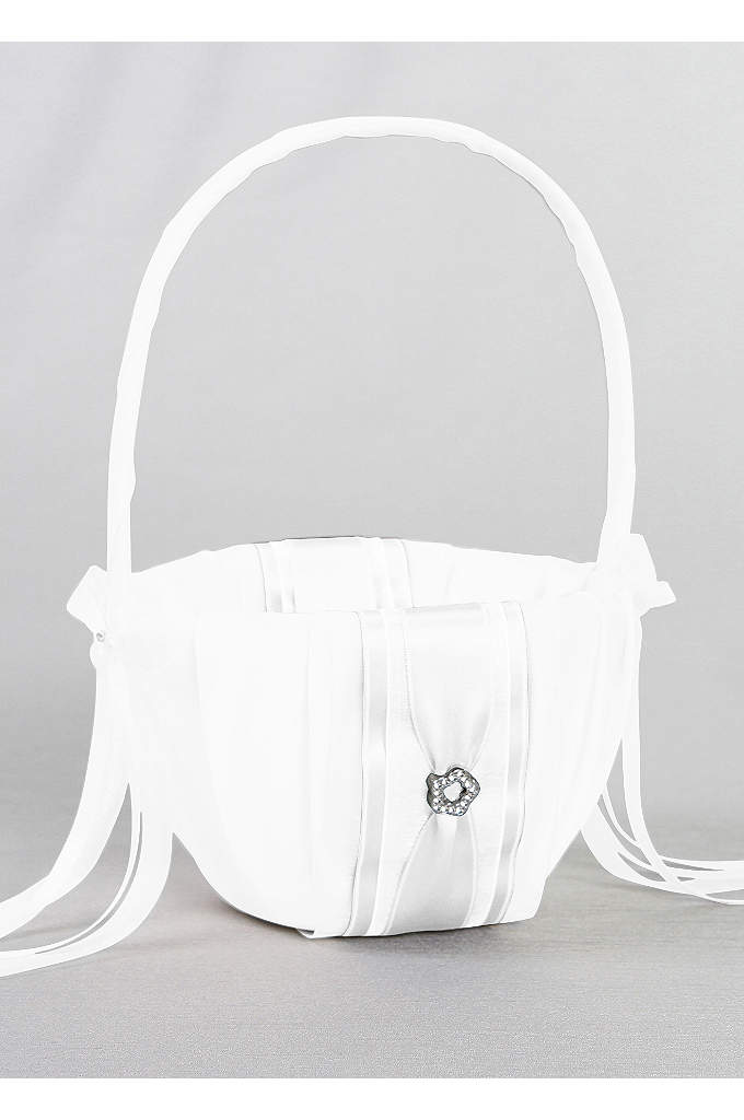 DB Exclusive Monogram Flower Girl Basket - Rounded base is drenched in exquisite white or