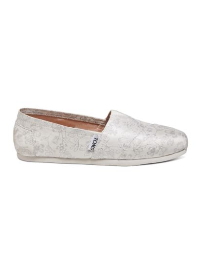 TOMS Ivory (TOMS Metallic Floral Jacquard Classic Slip-On Shoe)