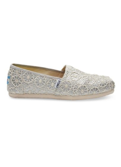 TOMS Grey (TOMS Crochet Glitter Classic Slip-On Shoes)