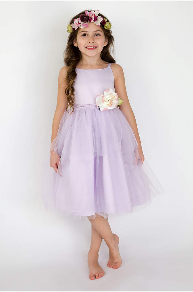 Spaghetti-Strap Tulle Flower Girl Dress