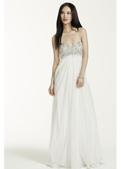 Long Chiffon Gown with Beaded Bust 10232DB