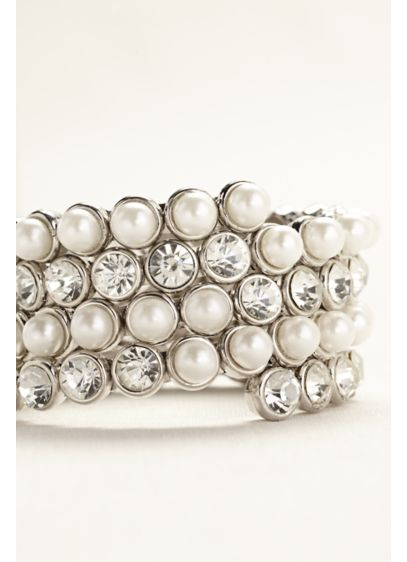 Large Pearl and Crystal Coil Bracelet - Wedding Accessories