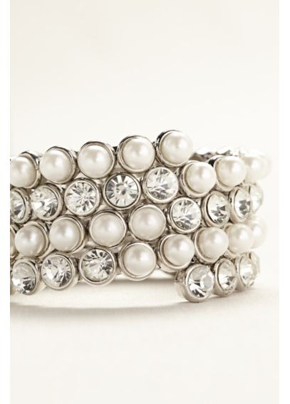 Large Pearl and Crystal Coil Bracelet 102364