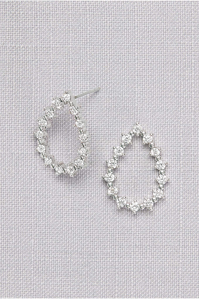 Cubic Zirconia Open Teardrop Earrings - Dainty crystals and gleaming metal beads form a