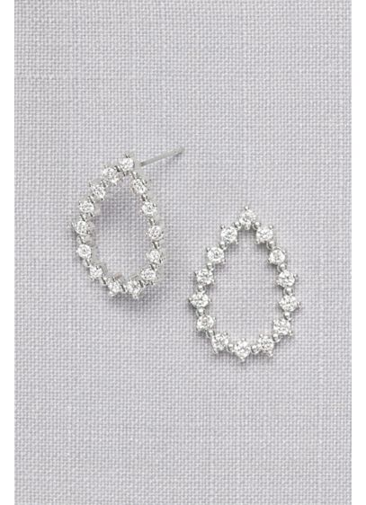 Cubic Zirconia Open Teardrop Earrings - Wedding Accessories