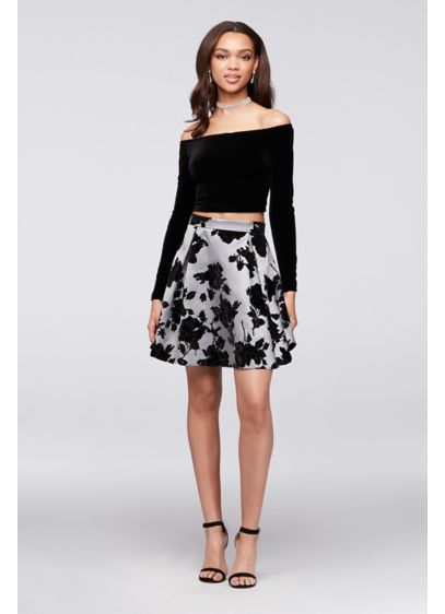 Short A-Line Off the Shoulder Cocktail and Party Dress - Jump