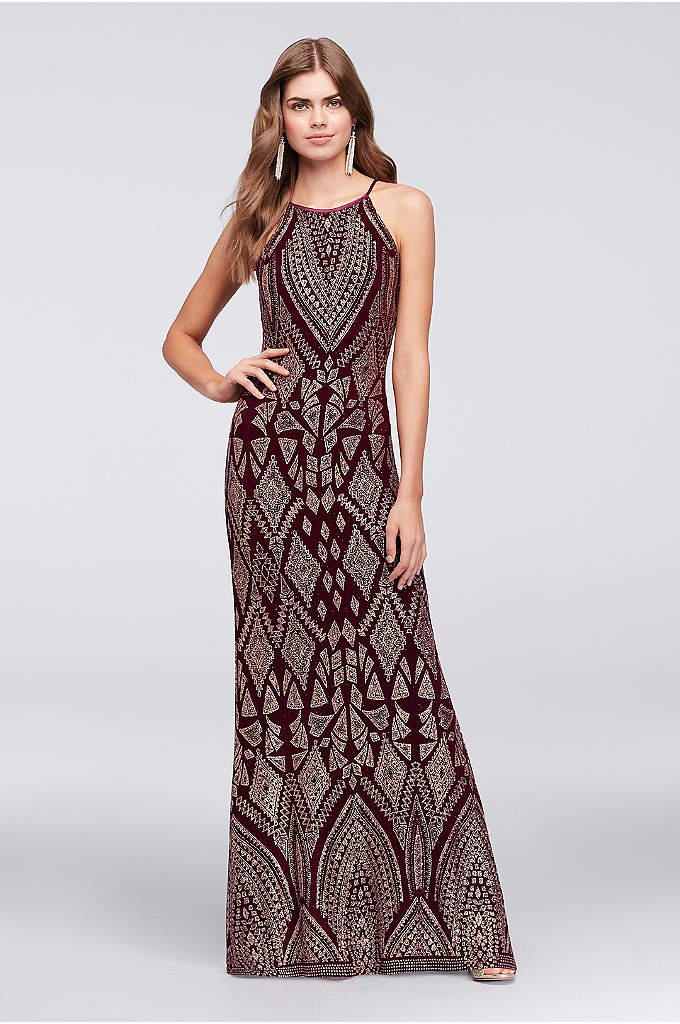 Glitter Print Long Dress with High Neck - Topped with a tapestry-inspired glitter motif, this slinky,