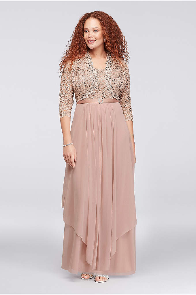 Sequin Lace and Chiffon Plus Size Bolero Dress - A sequined lace bodice and a wispy, midi-length