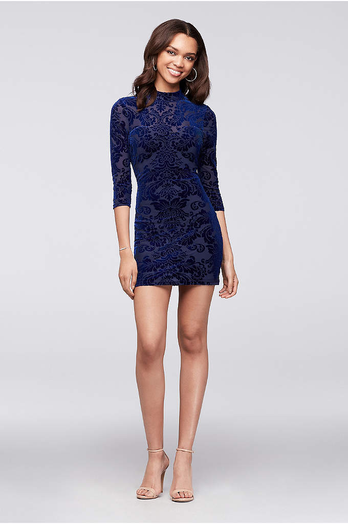 Lace-Up Burnout Velvet Long-Sleeve Mini Dress - Burnout velvet creates a chic textural pattern on