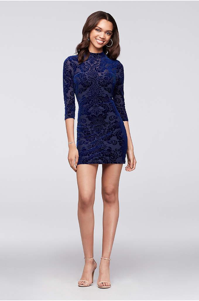 Lace-Up Burnout Velvet Long-Sleeve Mini Dress - Burnout velvet creates a chic textural pattern on