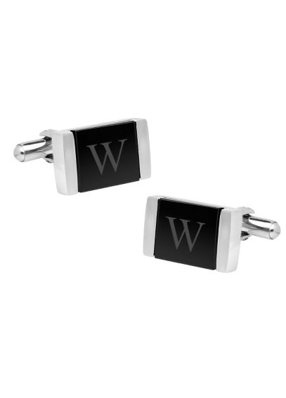 Personalized Faux Onyx Stainless Steel Cuff Links 1088