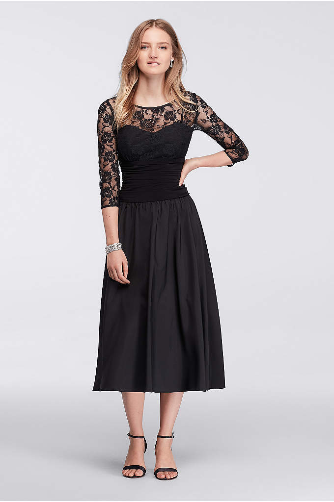 Long Sleeve Lace Dress with Sequin Lace Bodice - This long sleeve dress is seriously chic. The