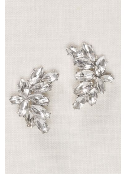 Curved Crystal Statement Stud Earrings - Wedding Accessories