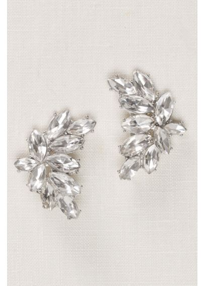 Curved Crystal Statement Stud Earrings 11016141CRYS