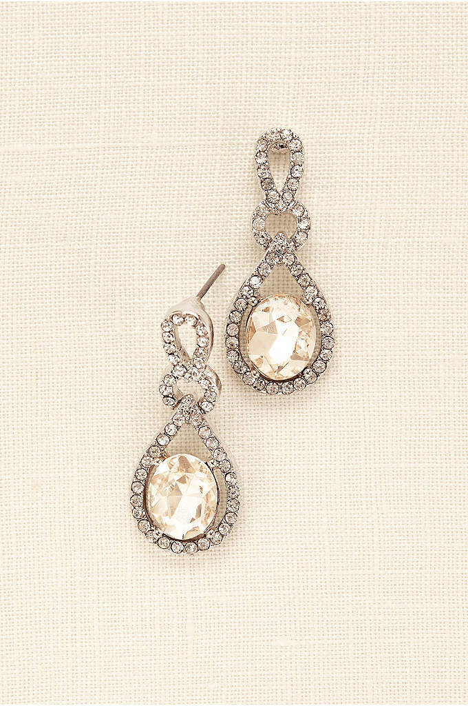 Crystal and Pave Teardrop Earrings - Classic yet opulent, these pave and crystal teardrop