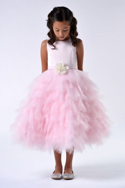 Satin and Tulle Tea-Length Flower Girl Dress | David's Bridal
