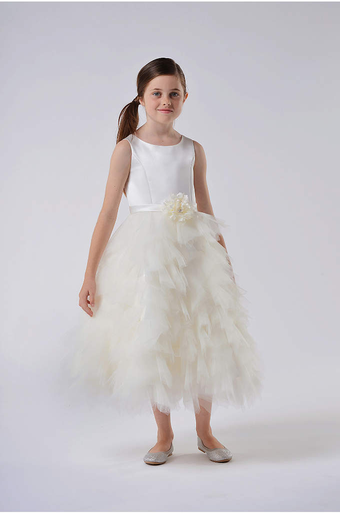 Satin and Tulle Tea-Length Flower Girl Dress