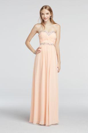 chiffon floor length prom dress strapless