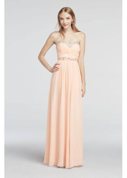 Strapless Chiffon Beaded Floor Length Prom Dress 1110003
