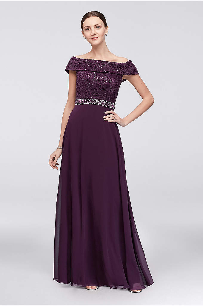 Off-the-Shoulder Beaded Lace and Chiffon Gown - An off-the-shoulder neckline and pretty waistline beading set