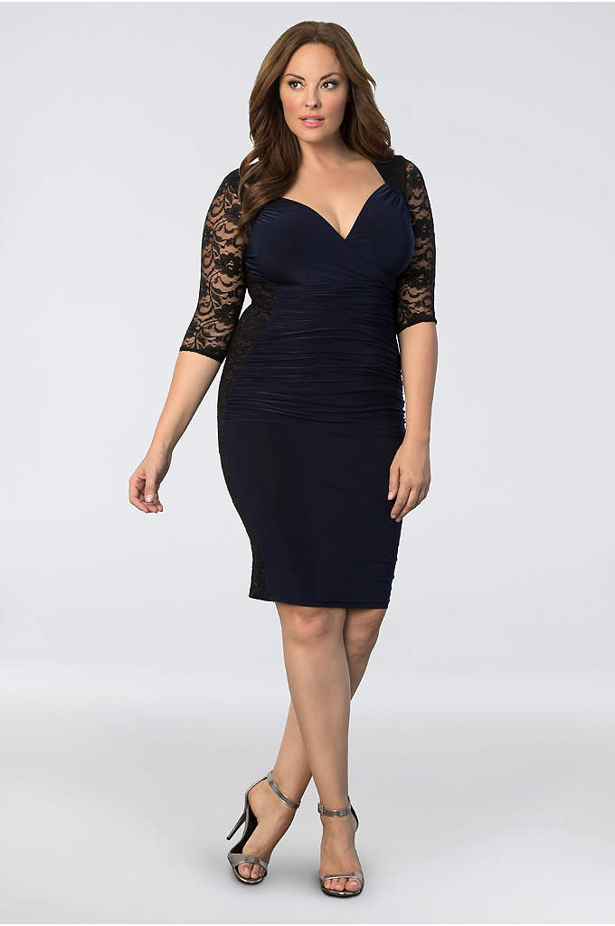 Valentina Illusion Plus Size Dress - The contrasting black lace on this ruched, stretch-jersey