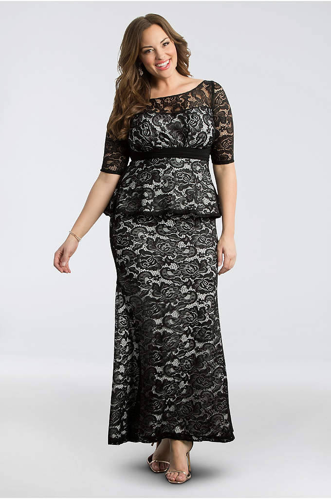 Astoria Peplum Lace Plus Size Gown - Ultra-flattering and just so lovely, this allover lace