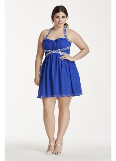 Short A-Line Halter Cocktail and Party Dress - Masquerade