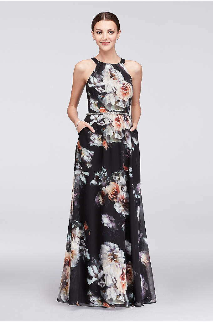 Printed Round-Neck Chiffon Gown with Beaded Waist - Details like a pleated neckline and jeweled waist