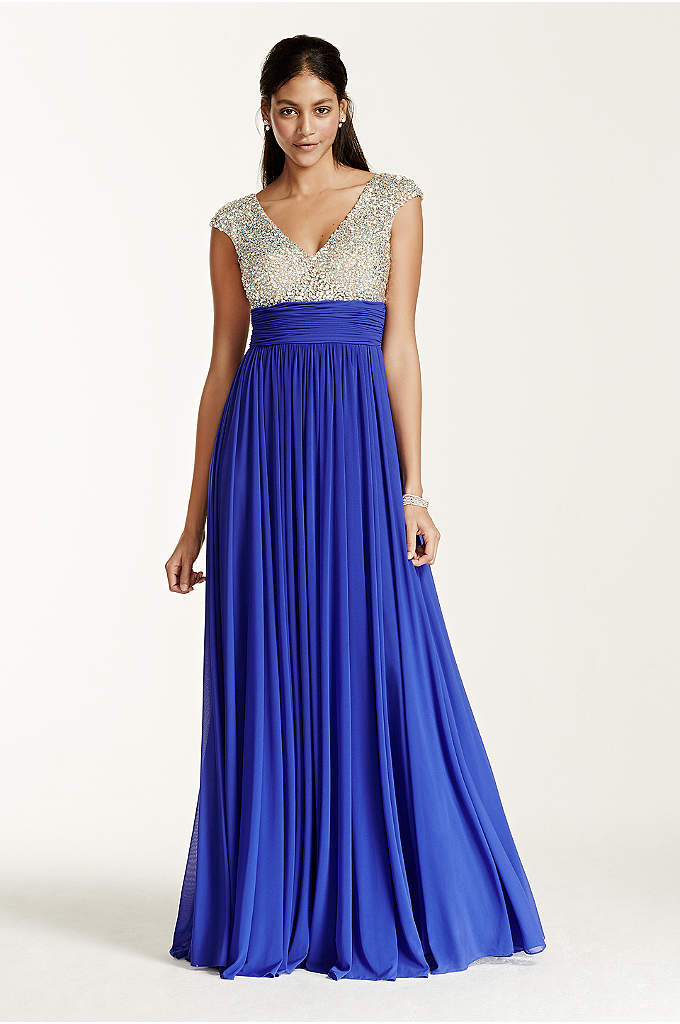 Crystal Encrusted Cap Sleeve Bodice Prom Dress