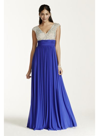 Long A-Line Cap Sleeves Prom Dress - Night Studio