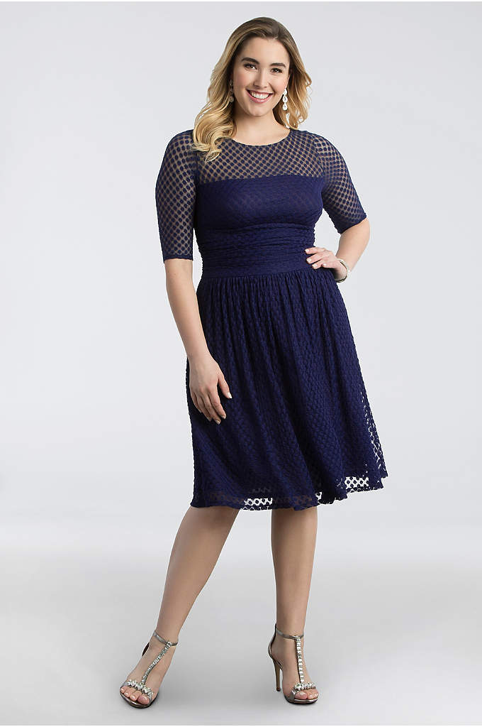 Alexa Retro Dot Plus Size Dress - Charmingly vintage-inspired, this fit-and-flare dress features an A-line