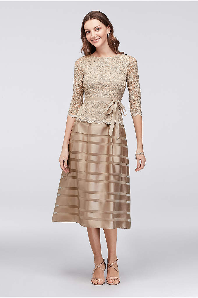 Striped Jacquard and Metallic Lace Dress - A universally flattering dress, topped with a bodice