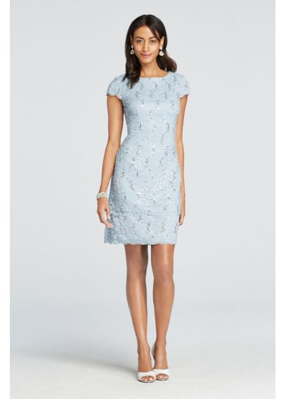 Short Cap Sleeve Lace Dress with Scalloped Hem 1121267