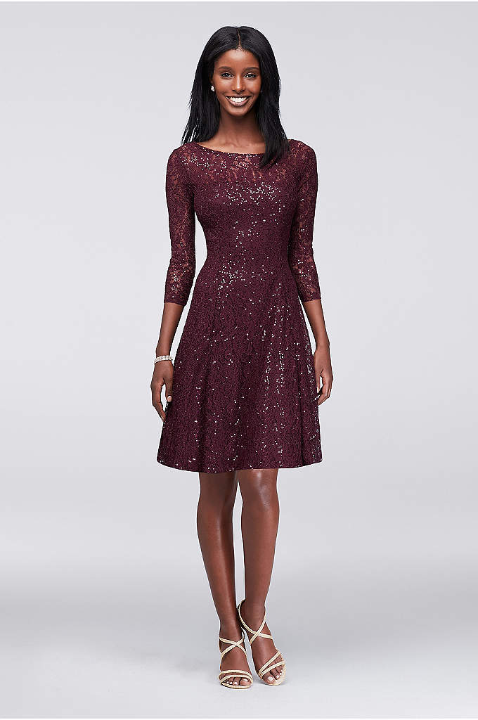 Sequined Lace Fit-and-Flare Dress - This fun fit-and-flare party dress is made even