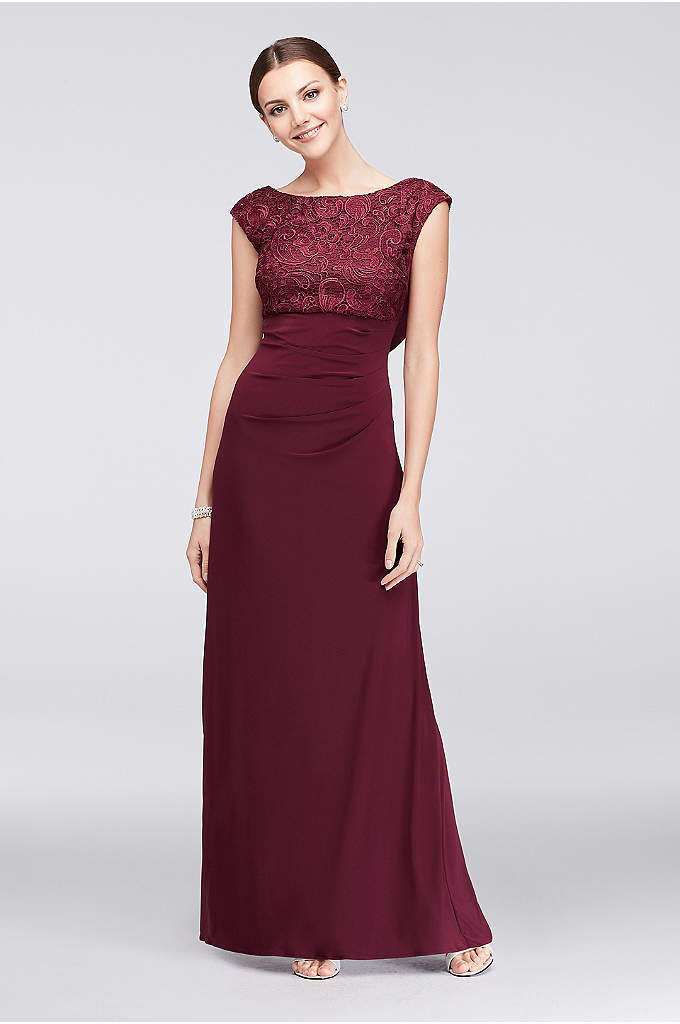 Cowl Back Lace and Jersey Sheath Gown - Turn around to reveal this high-neck lace and