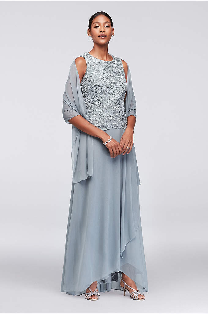 Scalloped Lace and Mesh Dress with Shawl - A breezy option for the mother of the
