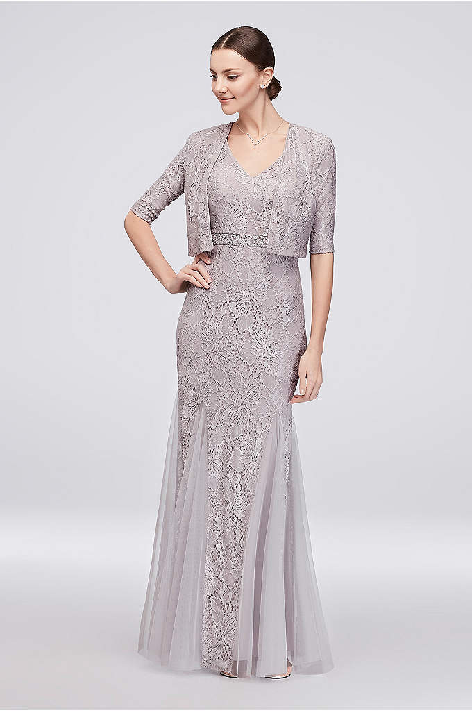 V-Neck Lace Gown with Matching Bolero - Graceful lines and gorgeous details make this lace