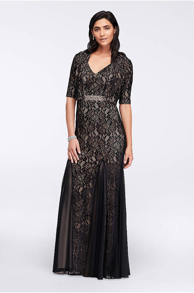 Long Lace Dress with Bolero Jacket - A dramatic lace dress, complete with a crystal-accented