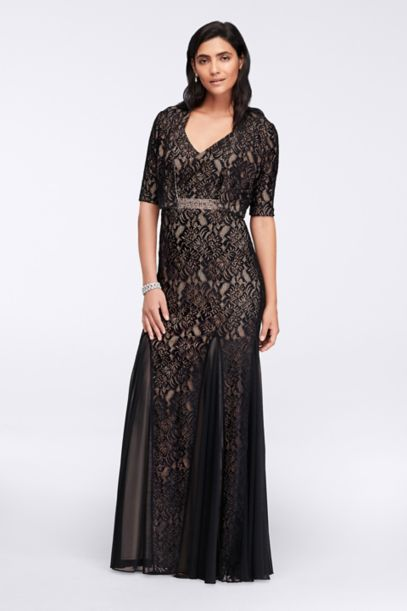 Long Lace Dress with Bolero Jacket - Davids Bridal