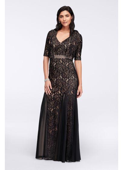 Long Lace Dress with Bolero Jacket - Davids Bridal