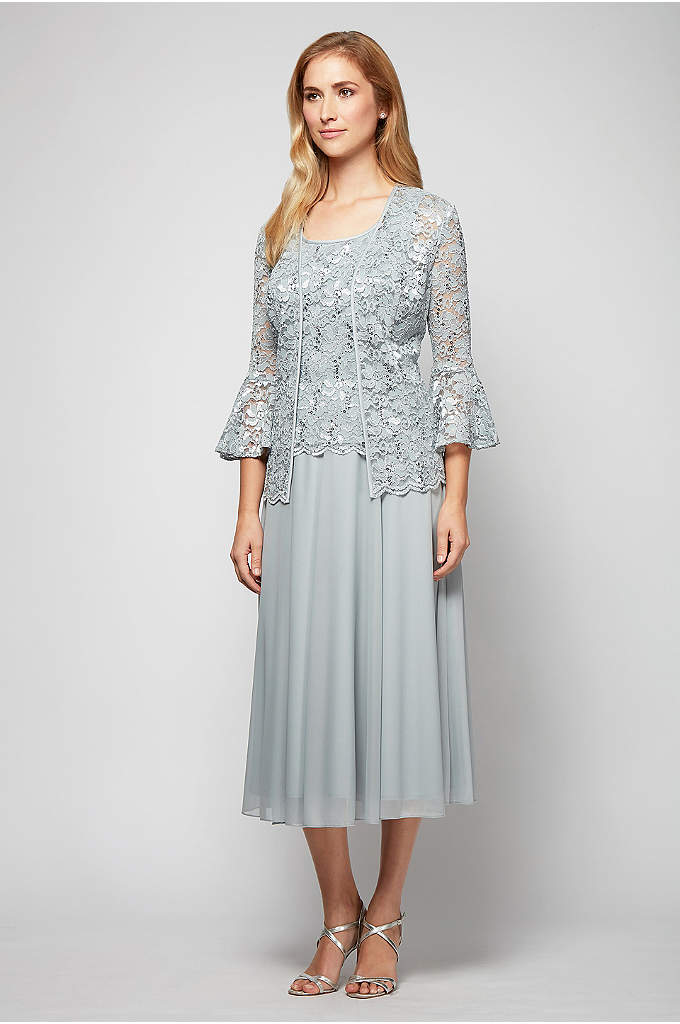 Bell-Sleeve Lace and Mesh Tea-Length Jacket Dress - Add a little flair to your look with