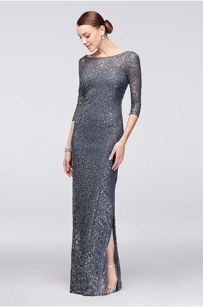 3/4-Sleeve Sequined Lace Column Dress with V-Back - Metallic-trimmed lace and clear sequins make this 3/4-sleeve