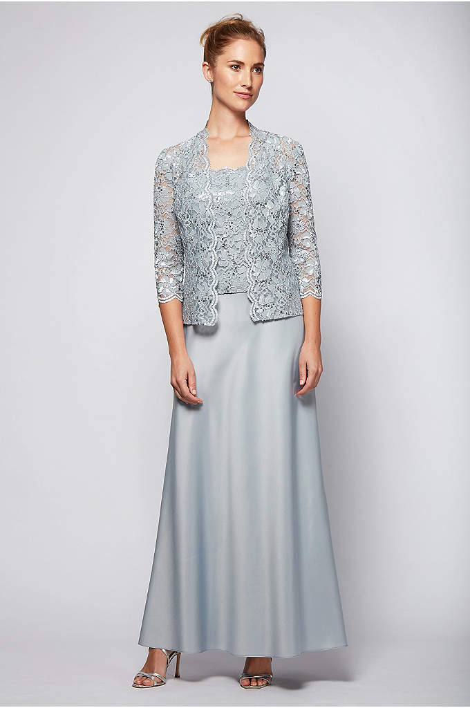A-Line Scalloped Lace and Satin Jacket Dress - This flowing satin A-line gown is topped with
