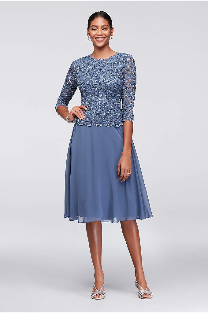 Scalloped Lace and Chiffon Short Dress - With the look of a perfectly matched ensemble,