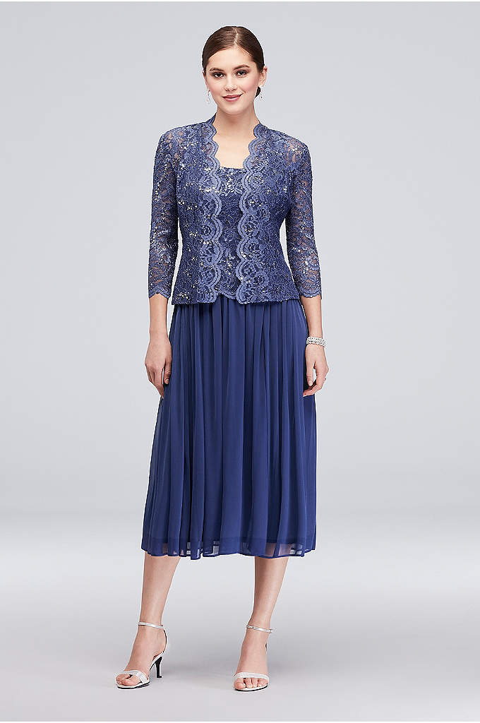 Sequin Lace Tea-Length Dress and Matching Jacket - This mock three-piece set is perfect if you