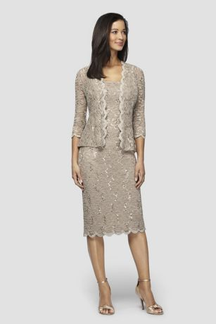 Sequin Lace Tea-Length Tank Dress and Jacket | David's Bridal | Tuggl