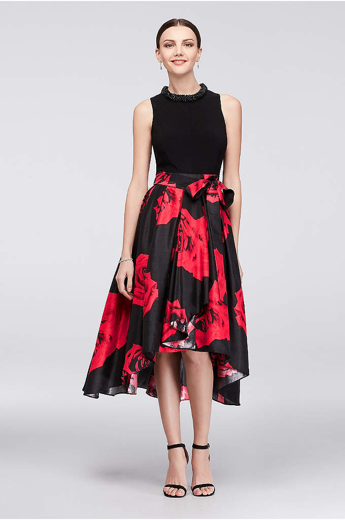 Floral Mikado Ball Gown with Beaded High Neckline - This dress lets you skip the necklace, since