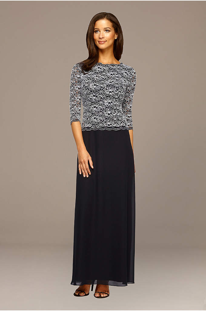3/4-Sleeve Sequin Lace and Chiffon Two-Piece Dress