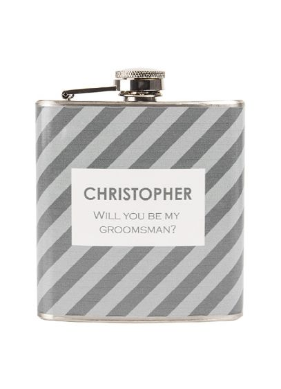 Personalized Striped Tie Pattern Flask - Wedding Gifts & Decorations